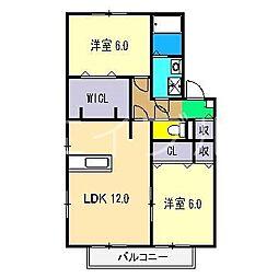アムール万々 A棟[2階]の間取り