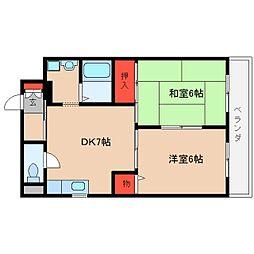 近鉄大阪線 桜井駅 徒歩6分の賃貸マンション 6階2DKの間取り