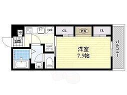 阪急京都本線 正雀駅 徒歩2分の賃貸マンション 2階1Kの間取り
