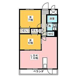 三重県松阪市大塚町の賃貸マンションの間取り