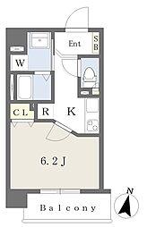 (仮)桜木町1丁目計画 4階1Kの間取り
