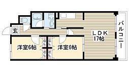 リーフマンショングランディア[206号室]の間取り