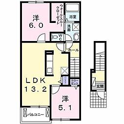 長野県松本市出川町の賃貸アパートの間取り