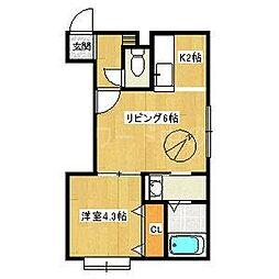 北海道札幌市豊平区豊平二条7丁目の賃貸アパートの間取り