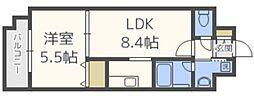 Axis(アクシス)天神南壱番館 10階1LDKの間取り