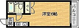 Osaka Metro谷町線 千林大宮駅 徒歩5分の賃貸マンション 3階ワンルームの間取り