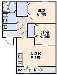 ステージ6 A棟 1階2LDKの間取り