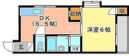 岡山県岡山市北区新屋敷町2丁目の賃貸アパートの間取り