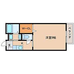 JR東海道本線 草薙駅 徒歩19分の賃貸アパート 2階1Kの間取り