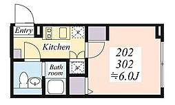 JR京浜東北・根岸線 蒲田駅 徒歩6分の賃貸マンション 2階1Kの間取り