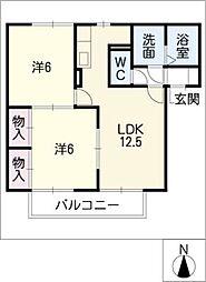 セジュール八剣 (北)[2階]の間取り