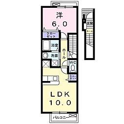エスポワ−ル Aya II 2階1LDKの間取り