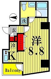 都営新宿線 菊川駅 徒歩9分の賃貸マンション 6階1Kの間取り
