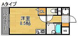 Sエーデルメタレ 3階ワンルームの間取り