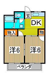 コーポさくら第2[2階]の間取り