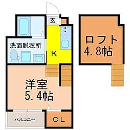 名古屋市営東山線 八田駅 徒歩6分の賃貸アパート 2階ワンルームの間取り