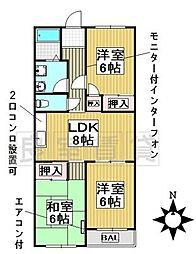 愛知県名古屋市千種区東山元町4丁目の賃貸マンションの間取り