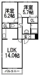 北海道札幌市西区西野一条9丁目の賃貸マンションの間取り