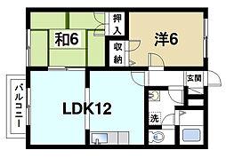 奈良県奈良市青野町1丁目の賃貸アパートの間取り