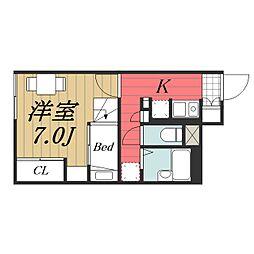 JR成田線 成田空港駅 バス14分 三里塚下車 徒歩19分の賃貸アパート 1階1Kの間取り