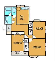 愛川パレス[1階]の間取り