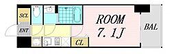ファステート難波グランプリ 14階1Kの間取り