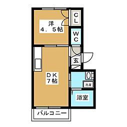 JR山手線 五反田駅 徒歩8分の賃貸マンション 1階1DKの間取り