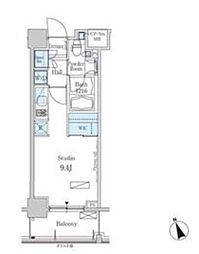 新交通ゆりかもめ 芝浦ふ頭駅 徒歩8分の賃貸マンション 5階ワンルームの間取り