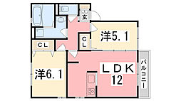 兵庫県高砂市今市2丁目の賃貸アパートの間取り