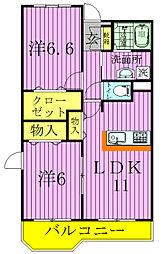 千葉県松戸市常盤平柳町の賃貸マンションの間取り