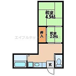 滋賀県大津市尾花川の賃貸アパートの間取り