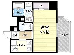阪急宝塚本線 池田駅 徒歩8分の賃貸マンション 3階1Kの間取り