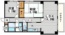 大阪府大阪市天王寺区堂ケ芝2丁目の賃貸マンションの間取り