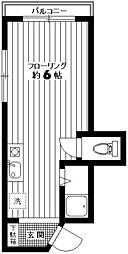 京王線 幡ヶ谷駅 徒歩10分の賃貸マンション 4階ワンルームの間取り