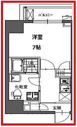 ラシーヌ東上野 3階1Kの間取り