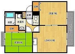 京都府京都市西京区松尾鈴川町の賃貸アパートの間取り