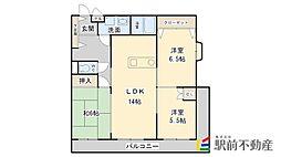 ロイヤルマンション南久留米[3階]の間取り