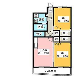 サニーハイツ三園[2階]の間取り