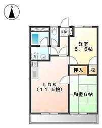 エスポワールJUN2番館[1階]の間取り