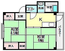 ビレッジハウス招堤[2階]の間取り