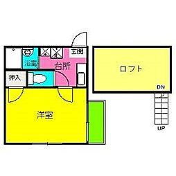 福岡県福岡市博多区那珂2の賃貸アパートの間取り