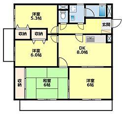 愛知県豊田市御立町8丁目の賃貸マンションの間取り