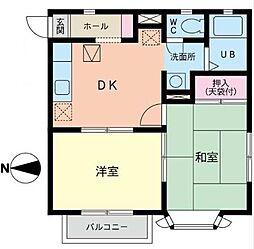 カーサ・ユタカC[1階]の間取り