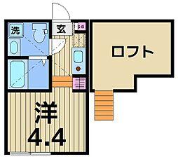 東京都足立区千住東2の賃貸アパートの間取り