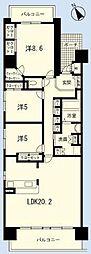 兵庫県姫路市飾磨区恵美酒の賃貸マンションの間取り
