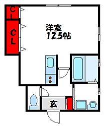 メゾン舞I 1階ワンルームの間取り