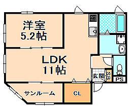 兵庫県伊丹市下河原1丁目の賃貸アパートの間取り