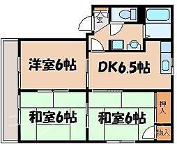 広島県広島市安芸区矢野東6丁目の賃貸アパートの間取り