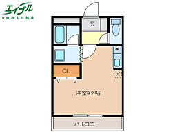 三岐鉄道三岐線 平津駅 徒歩10分の賃貸アパート 1階ワンルームの間取り