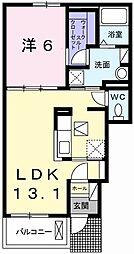 ラ・ポールII 1階1LDKの間取り